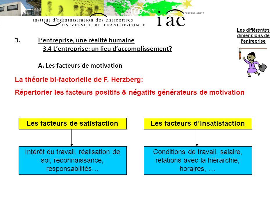 Les facteurs de satisfaction Les facteurs d'insatisfaction