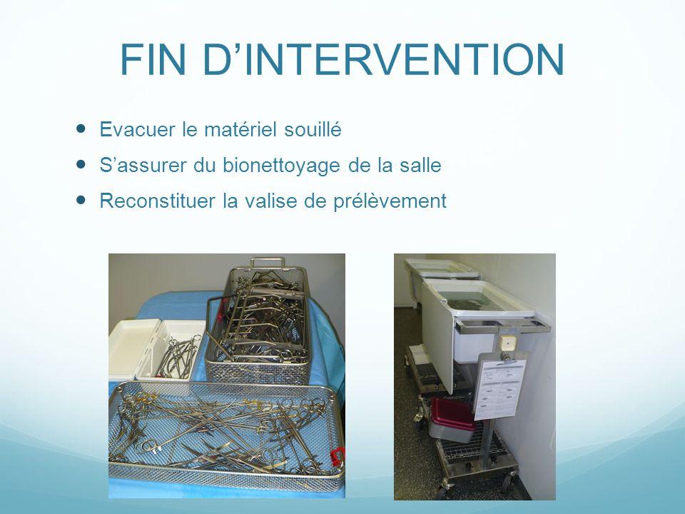 FIN D'INTERVENTION Evacuer le matériel souillé