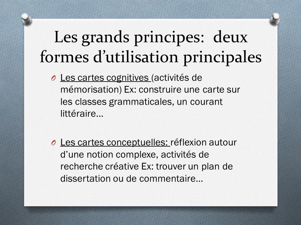 Les grands principes: deux formes d'utilisation principales