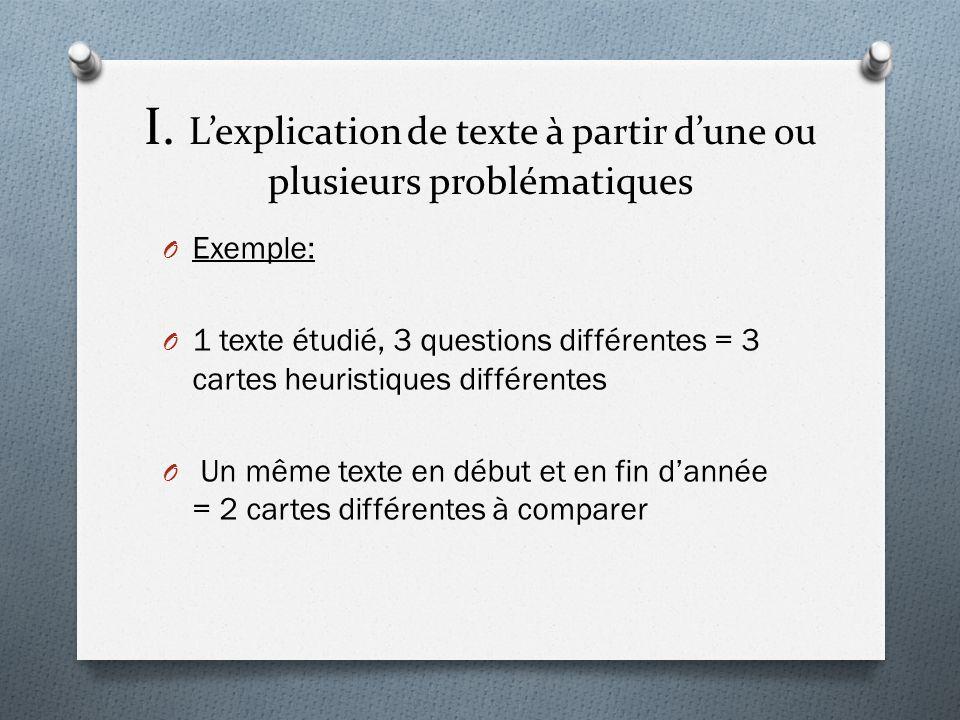I. L'explication de texte à partir d'une ou plusieurs problématiques