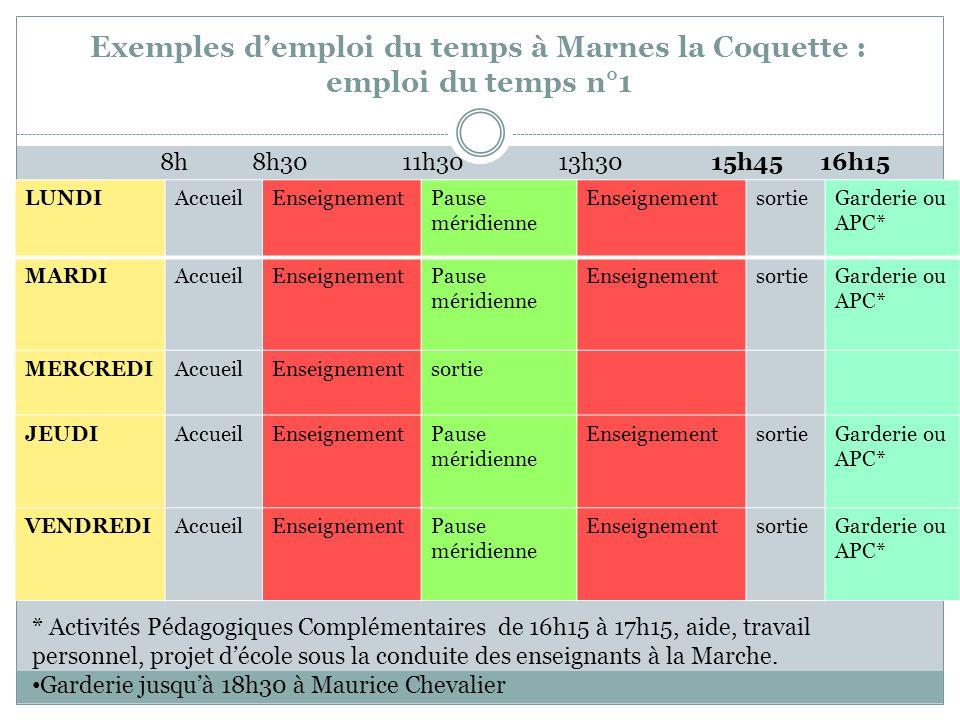 Exemples d'emploi du temps à Marnes la Coquette : emploi du temps n°1