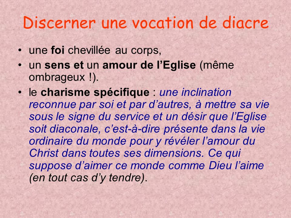 Discerner une vocation de diacre