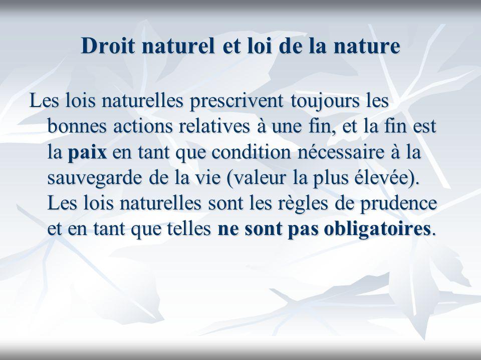 Droit naturel et loi de la nature