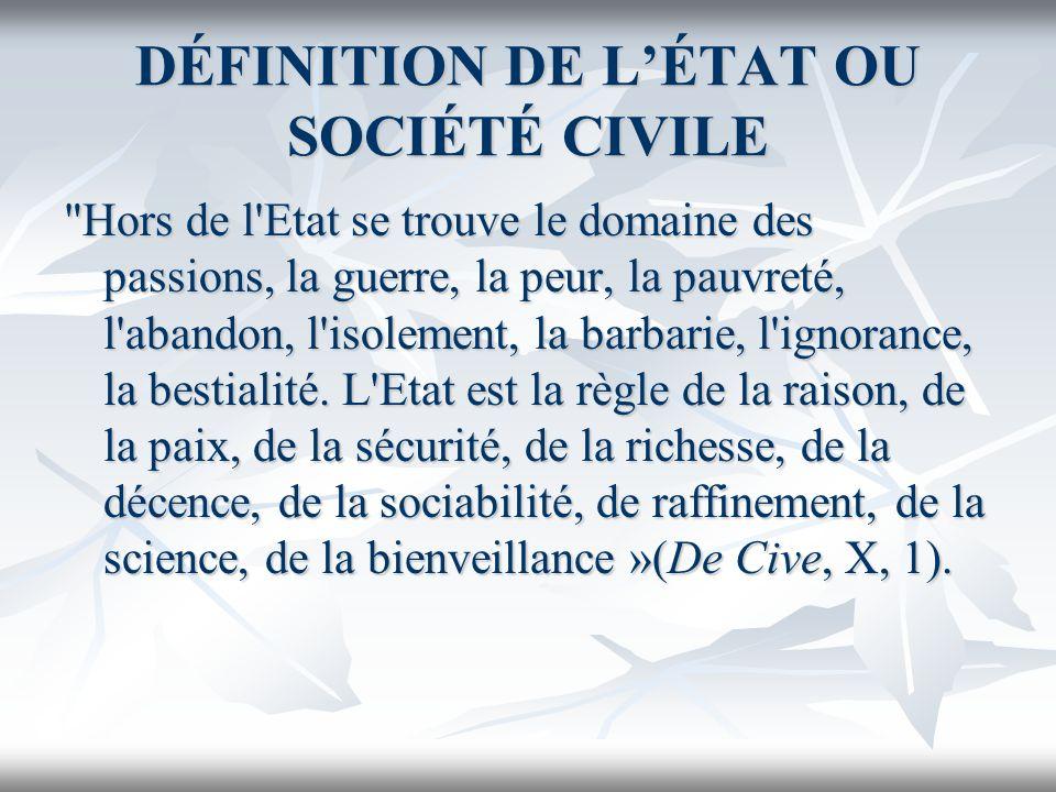 DÉFINITION DE L'ÉTAT OU SOCIÉTÉ CIVILE