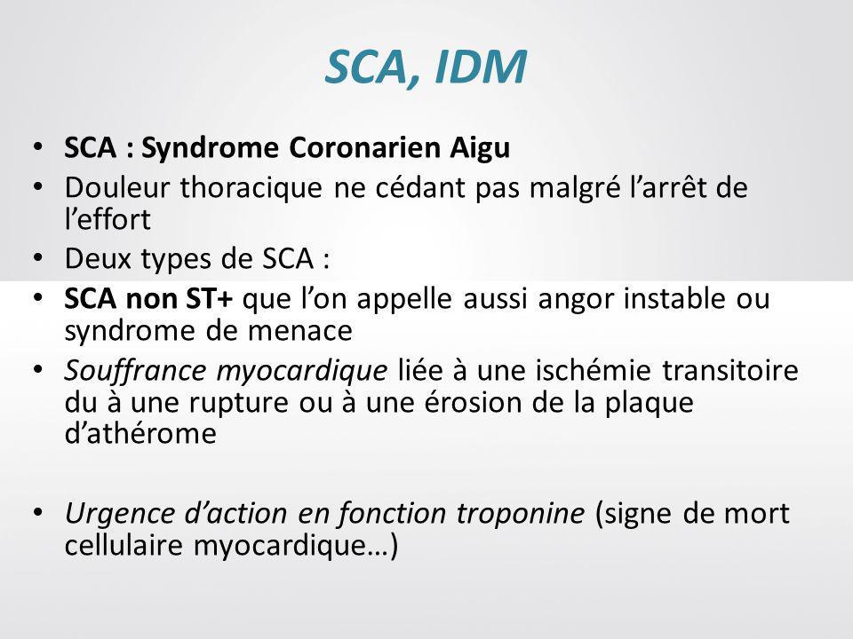 SCA, IDM SCA : Syndrome Coronarien Aigu