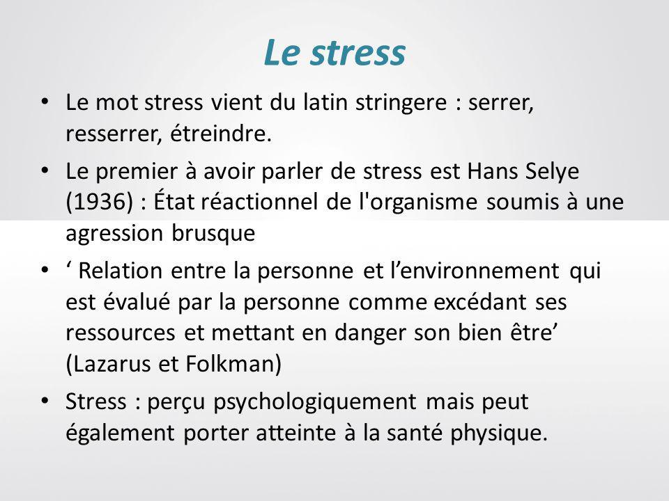 Le stress Le mot stress vient du latin stringere : serrer, resserrer, étreindre.
