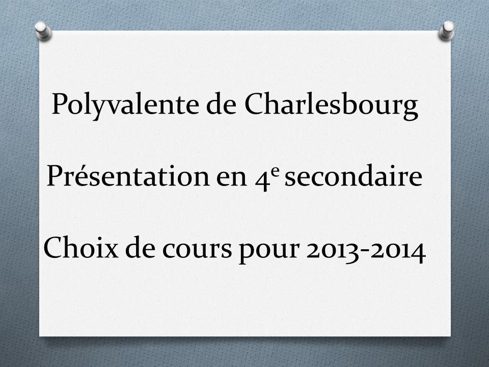Polyvalente de Charlesbourg Présentation en 4e secondaire Choix de cours pour 2013-2014