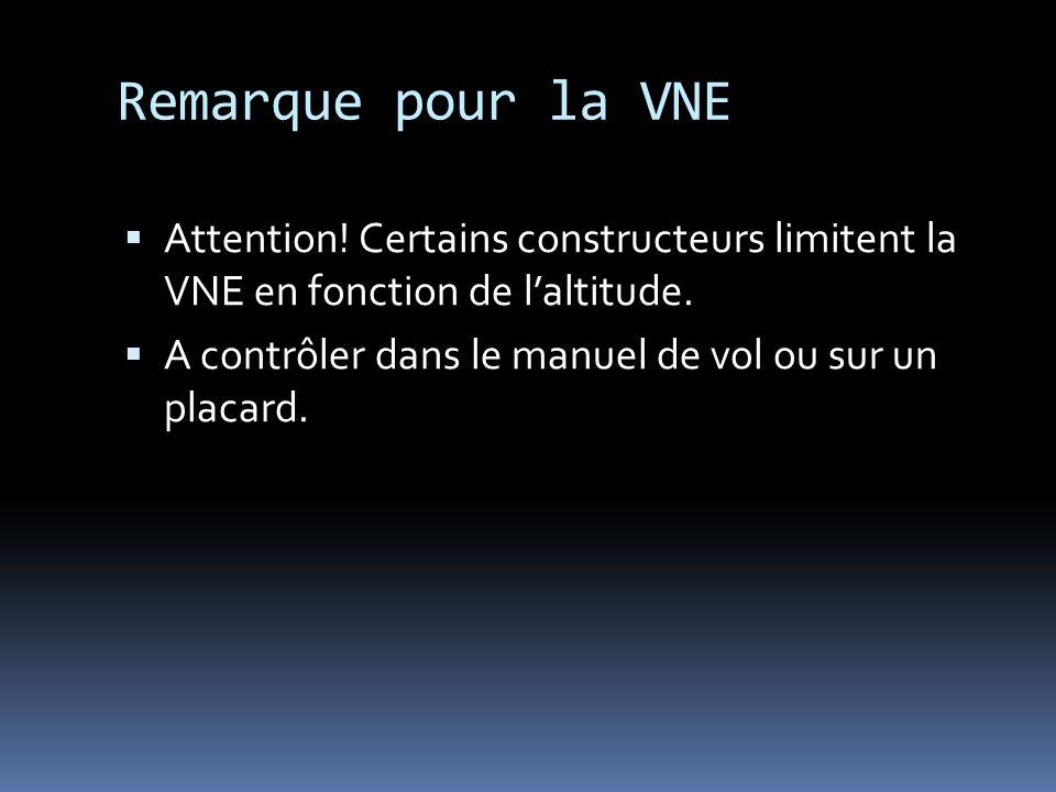 Remarque pour la VNE Attention! Certains constructeurs limitent la VNE en fonction de l'altitude.