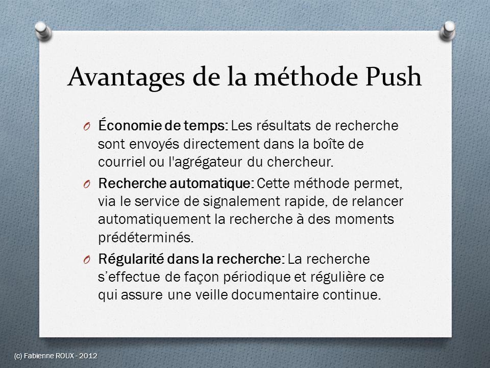 Avantages de la méthode Push