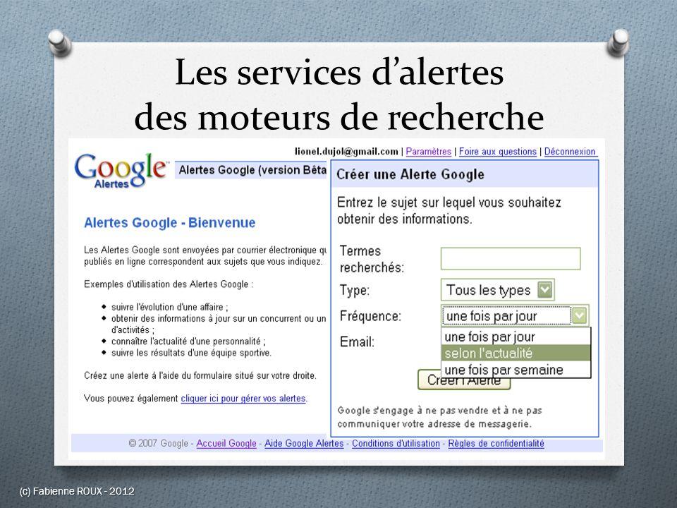 Les services d'alertes des moteurs de recherche