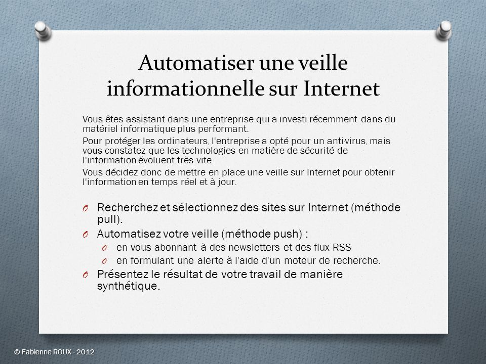 Automatiser une veille informationnelle sur Internet