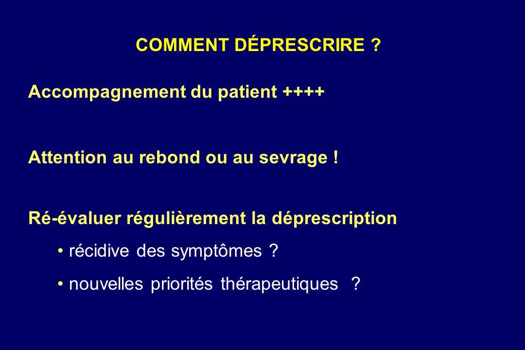 COMMENT DÉPRESCRIRE Accompagnement du patient ++++ Attention au rebond ou au sevrage ! Ré-évaluer régulièrement la déprescription.