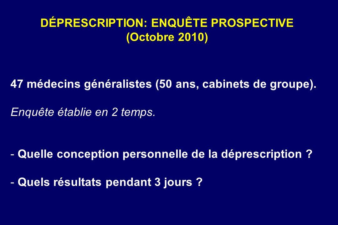 DÉPRESCRIPTION: ENQUÊTE PROSPECTIVE (Octobre 2010)