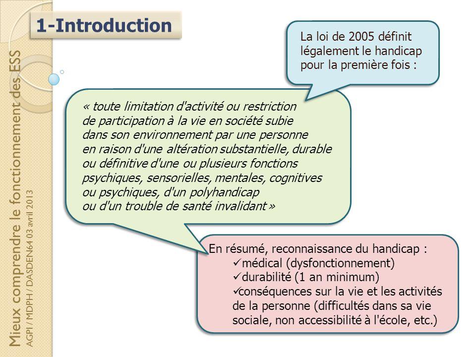 La loi de 2005 définit légalement le handicap pour la première fois :