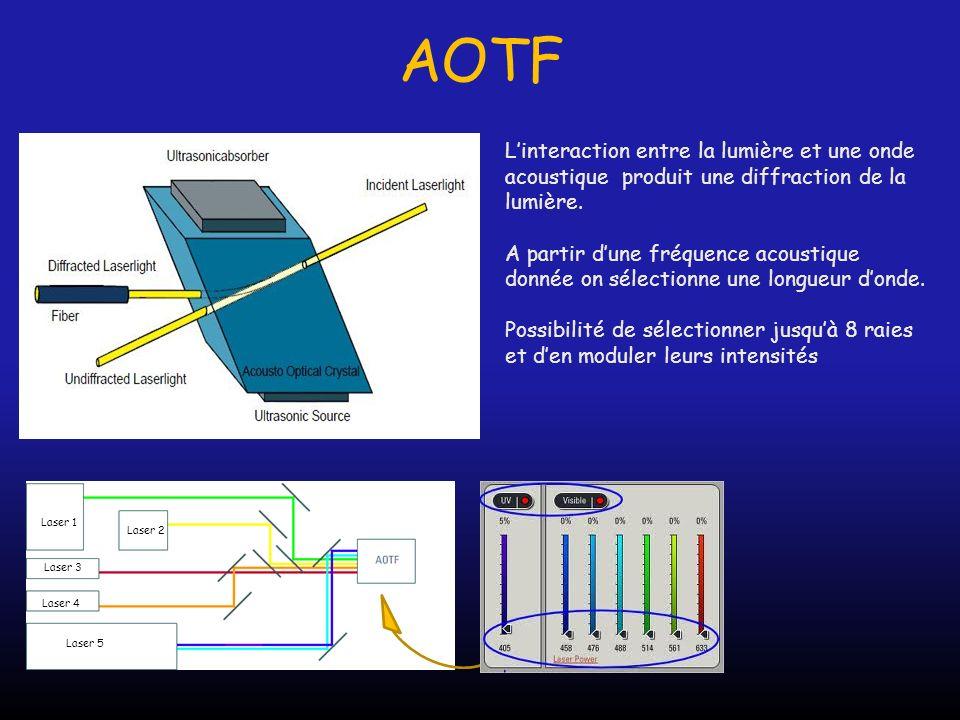 AOTF L'interaction entre la lumière et une onde acoustique produit une diffraction de la lumière.