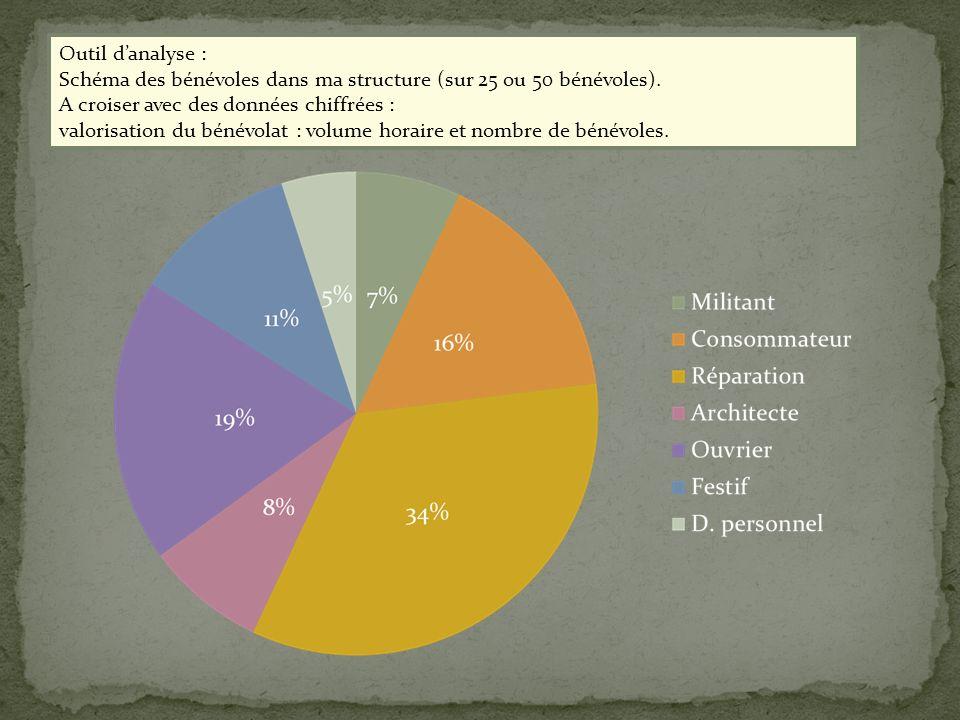 Outil d'analyse : Schéma des bénévoles dans ma structure (sur 25 ou 50 bénévoles). A croiser avec des données chiffrées :