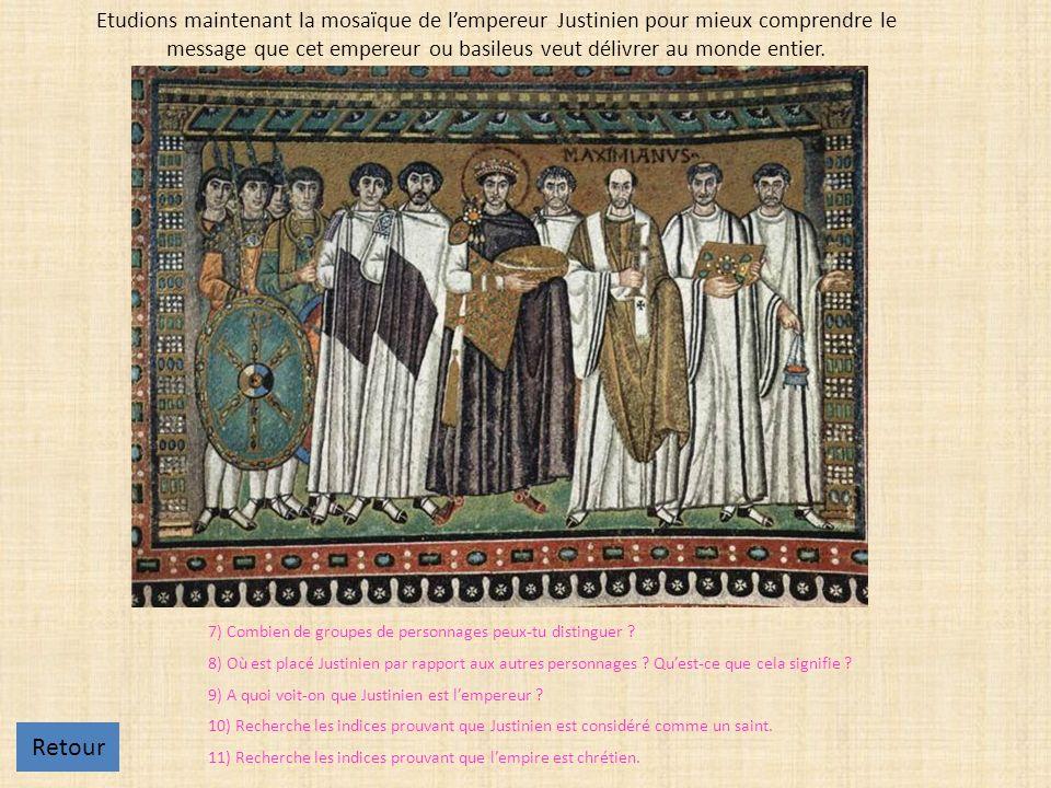 Etudions maintenant la mosaïque de l'empereur Justinien pour mieux comprendre le message que cet empereur ou basileus veut délivrer au monde entier.