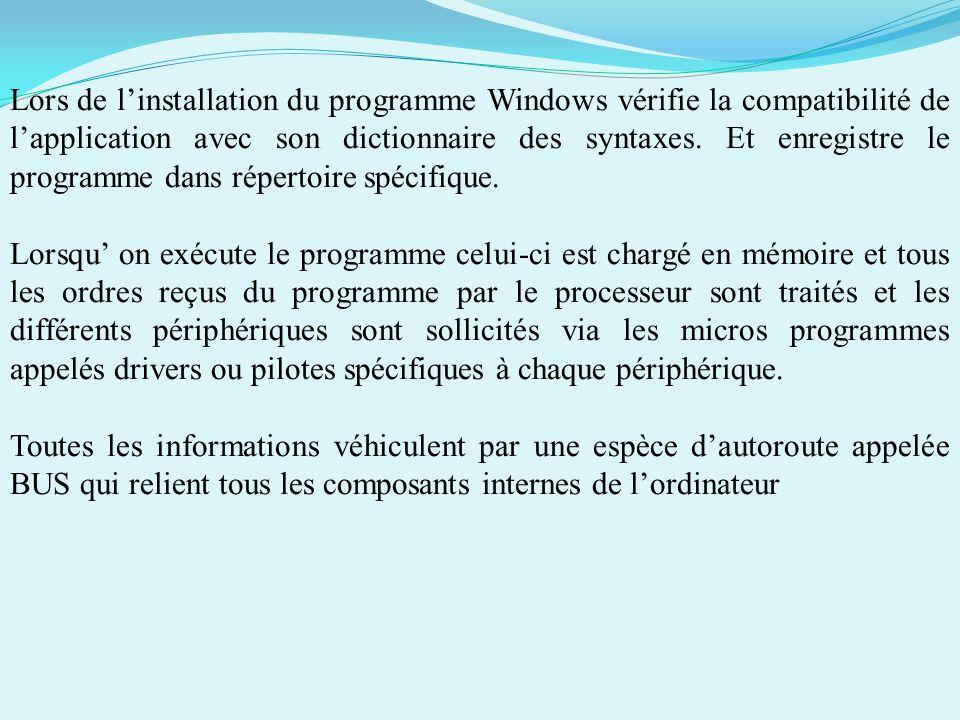 Lors de l'installation du programme Windows vérifie la compatibilité de l'application avec son dictionnaire des syntaxes. Et enregistre le programme dans répertoire spécifique.
