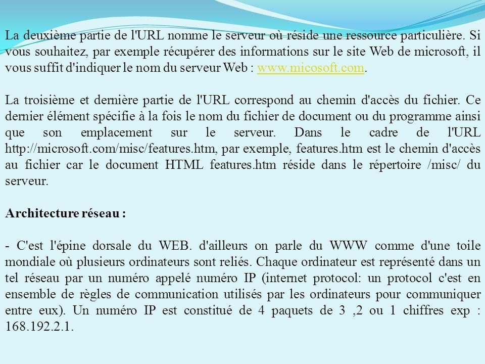 La deuxième partie de l URL nomme le serveur où réside une ressource particulière. Si vous souhaitez, par exemple récupérer des informations sur le site Web de microsoft, il vous suffit d indiquer le nom du serveur Web : www.micosoft.com.