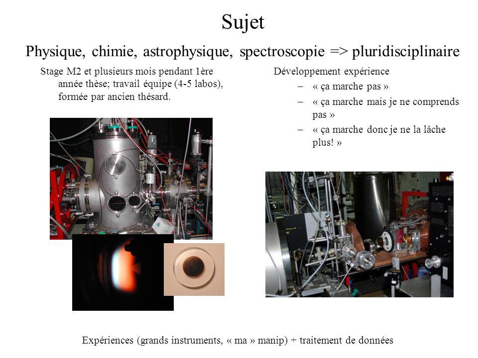 Sujet Physique, chimie, astrophysique, spectroscopie => pluridisciplinaire.