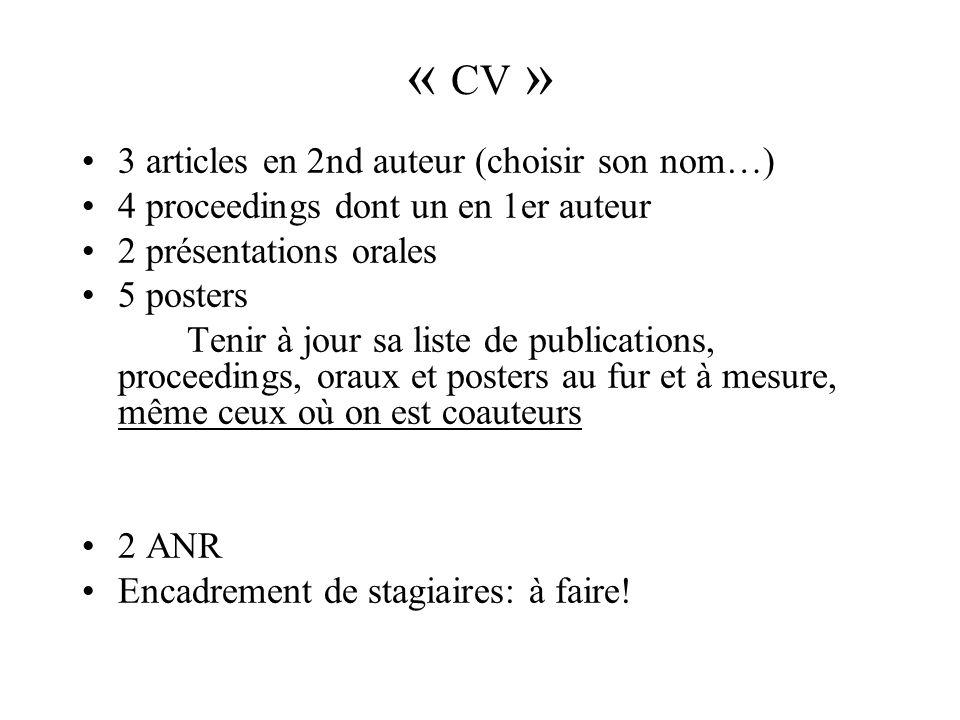 « CV » 3 articles en 2nd auteur (choisir son nom…)