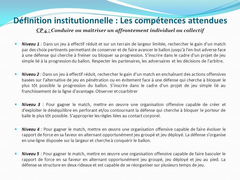 Définition institutionnelle : Les compétences attendues