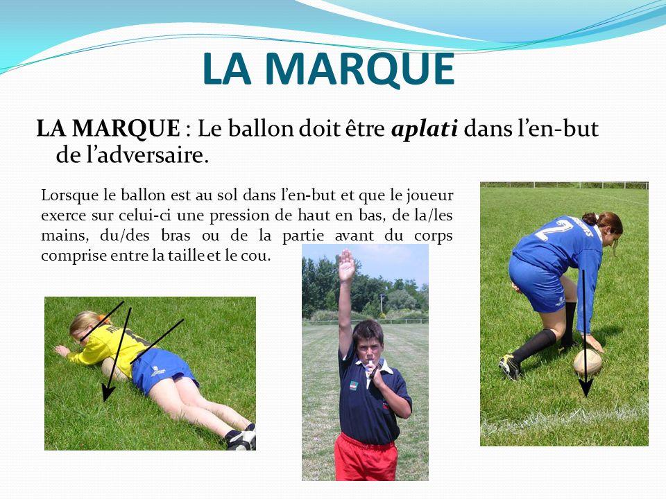LA MARQUE LA MARQUE : Le ballon doit être aplati dans l'en-but de l'adversaire.
