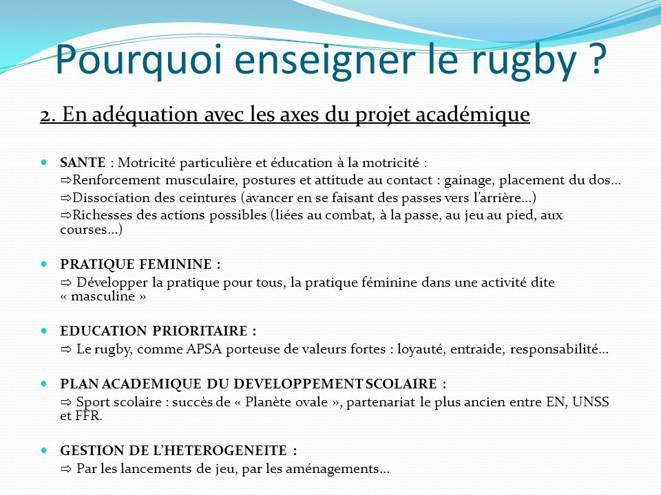 Pourquoi enseigner le rugby