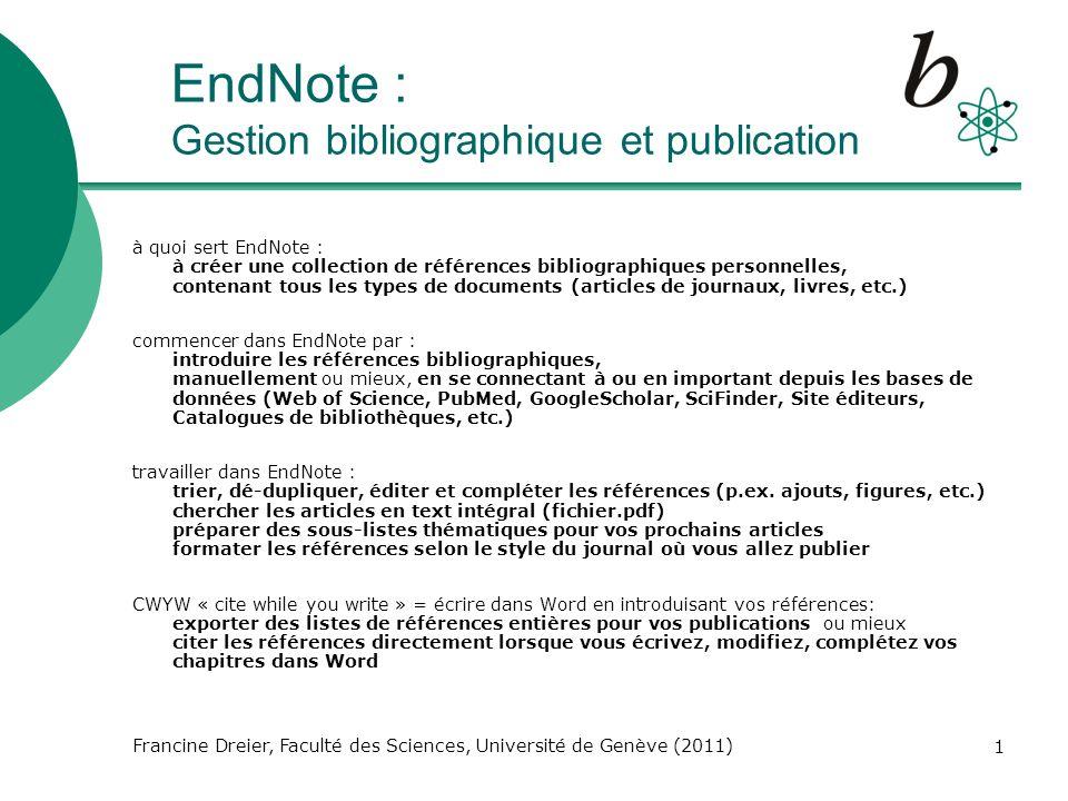 EndNote : Gestion bibliographique et publication