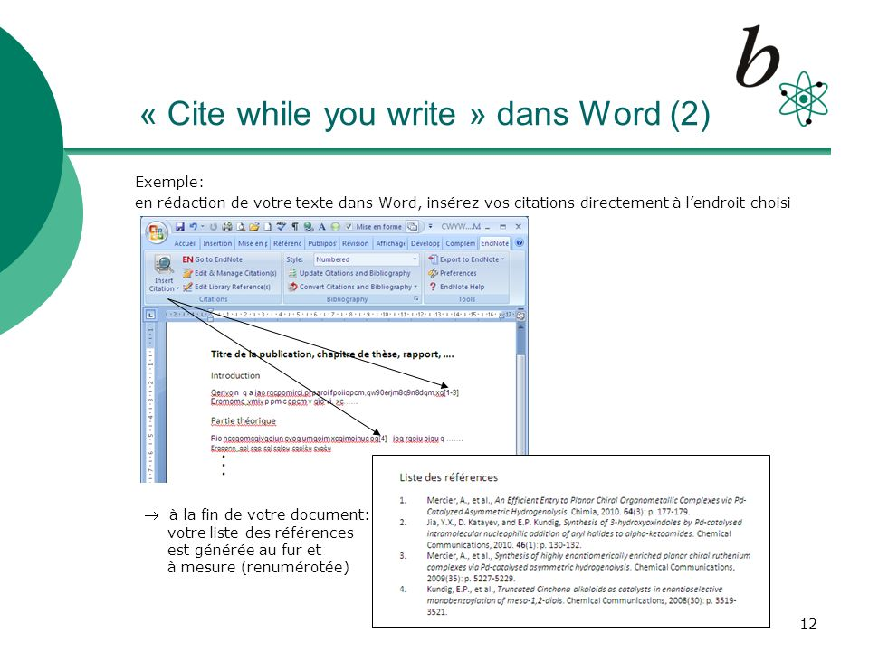 « Cite while you write » dans Word (2)
