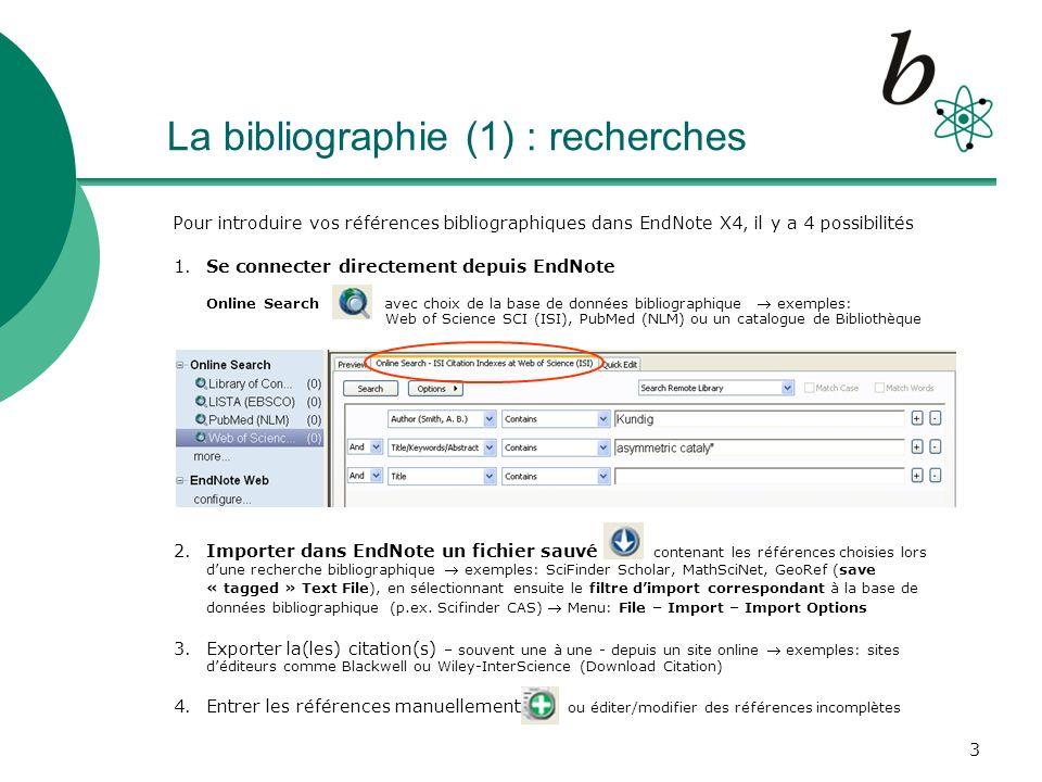 La bibliographie (1) : recherches