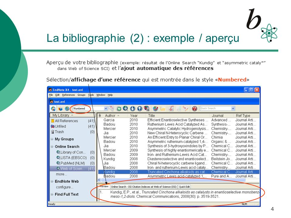 La bibliographie (2) : exemple / aperçu