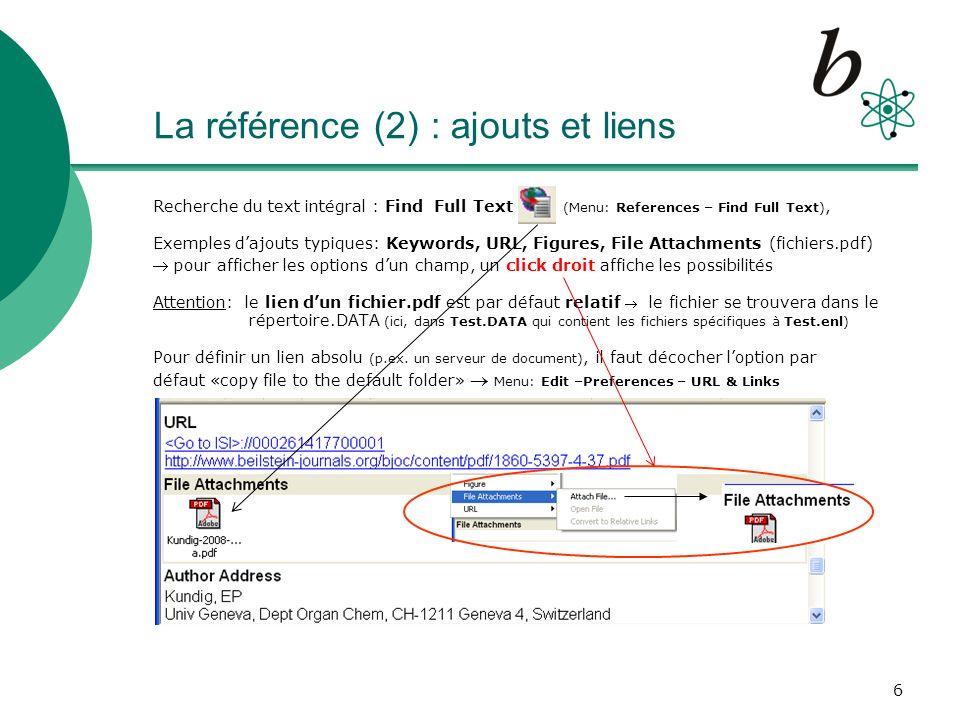 La référence (2) : ajouts et liens