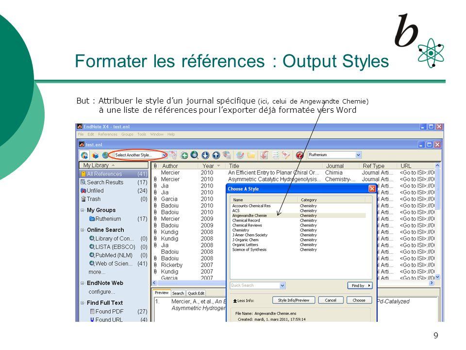 Formater les références : Output Styles
