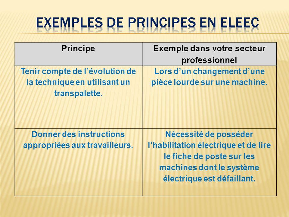 Exemples de principes en eleec