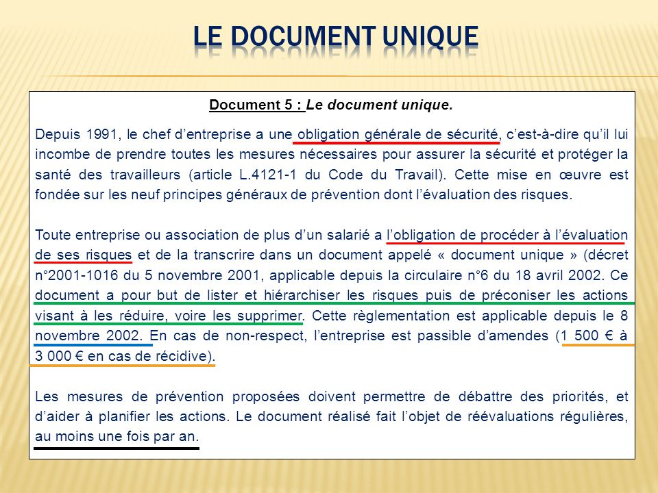 Document 5 : Le document unique.