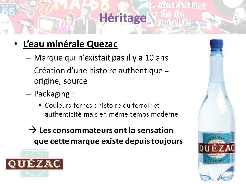 Héritage L'eau minérale Quezac Marque qui n'existait pas il y a 10 ans