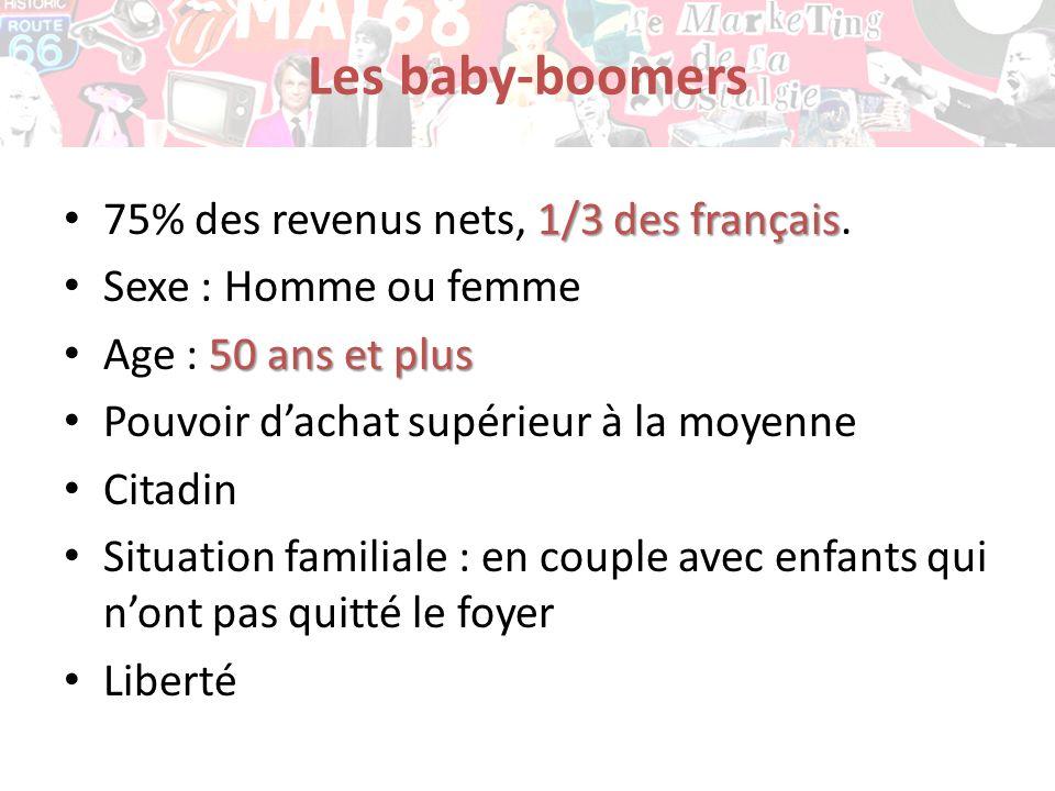 Les baby-boomers 75% des revenus nets, 1/3 des français.