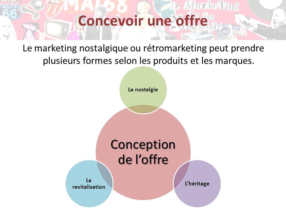 Concevoir une offre Le marketing nostalgique ou rétromarketing peut prendre plusieurs formes selon les produits et les marques.