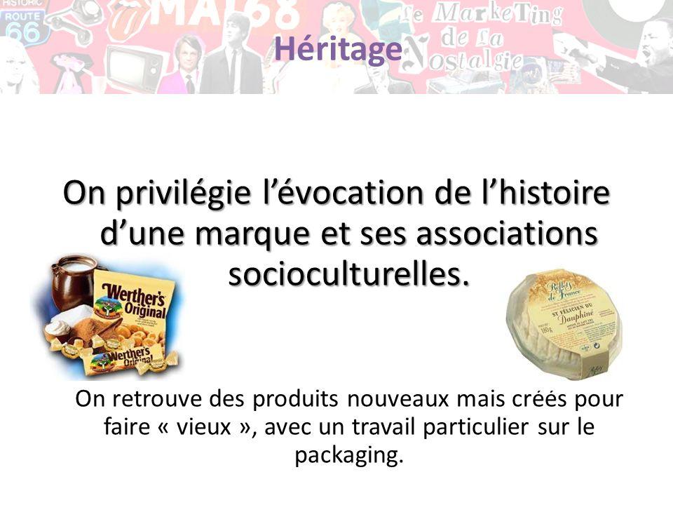 Héritage On privilégie l'évocation de l'histoire d'une marque et ses associations socioculturelles.