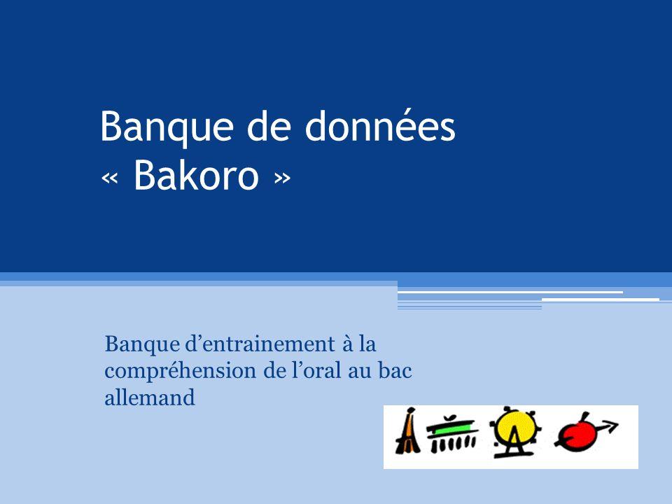 Banque de données « Bakoro »