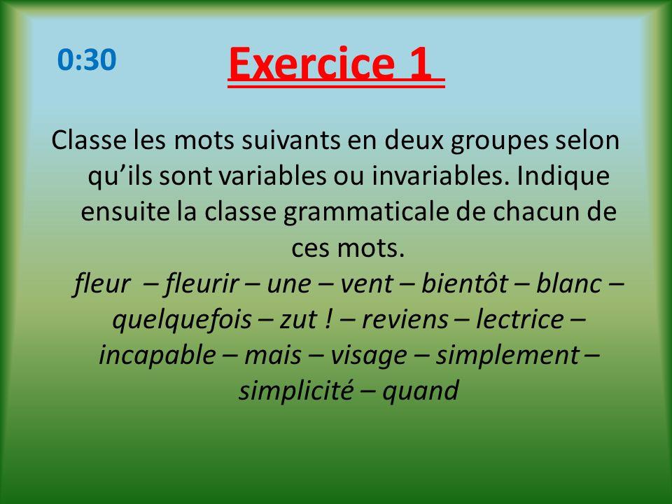 Exercice 1 0:30.