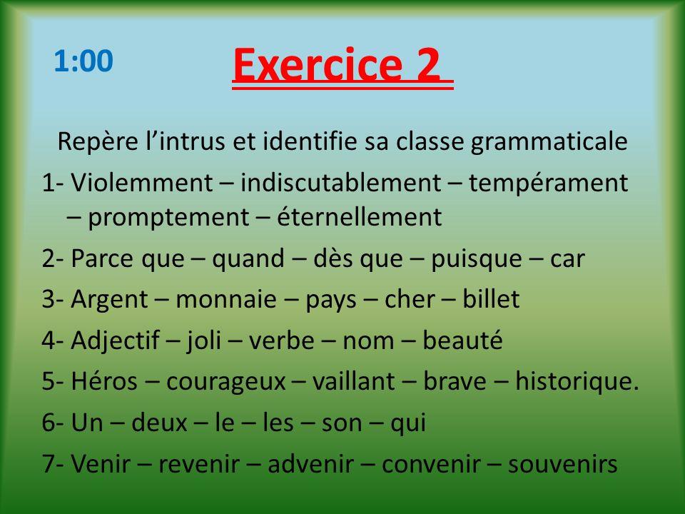 Exercice 2 1:00.