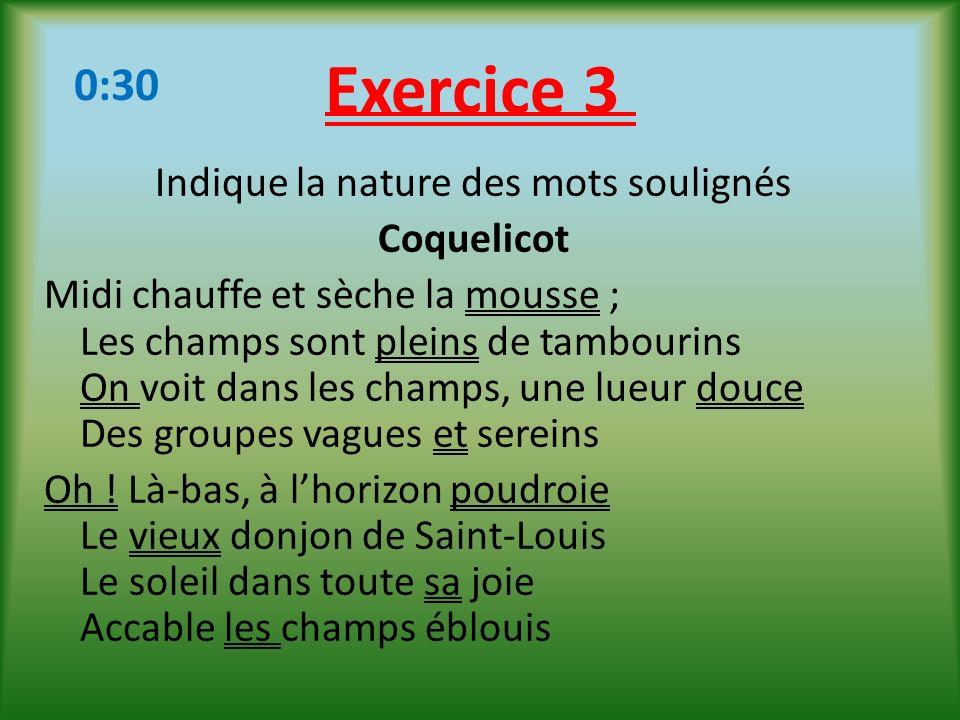 Exercice 3 0:30.