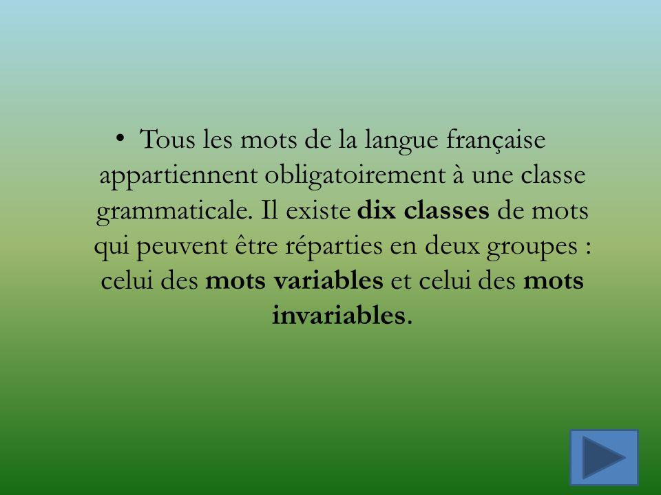 Tous les mots de la langue française appartiennent obligatoirement à une classe grammaticale.