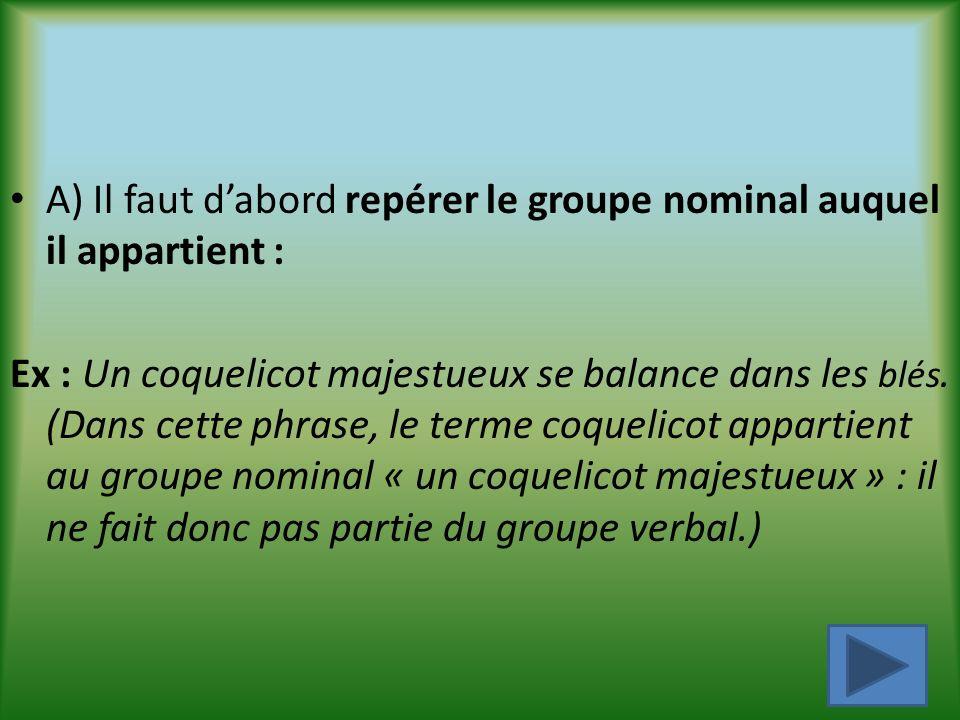 A) Il faut d'abord repérer le groupe nominal auquel il appartient :
