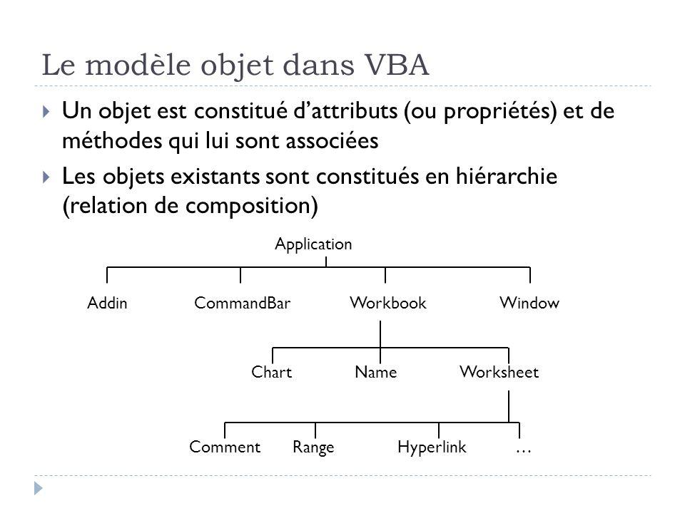 Le modèle objet dans VBA