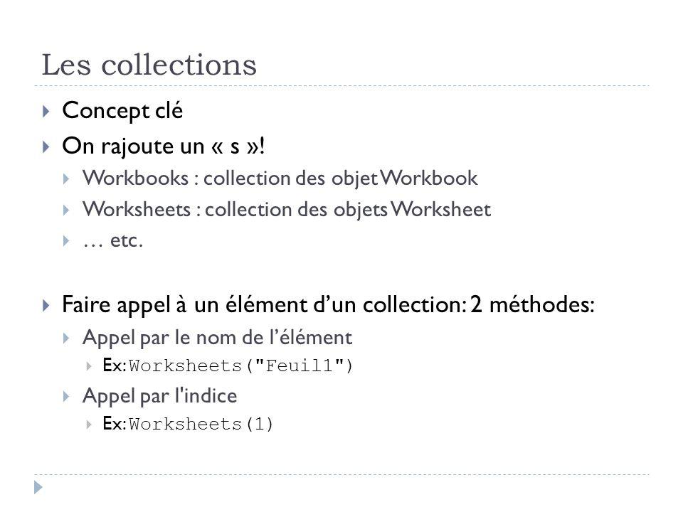 Les collections Concept clé On rajoute un « s »!
