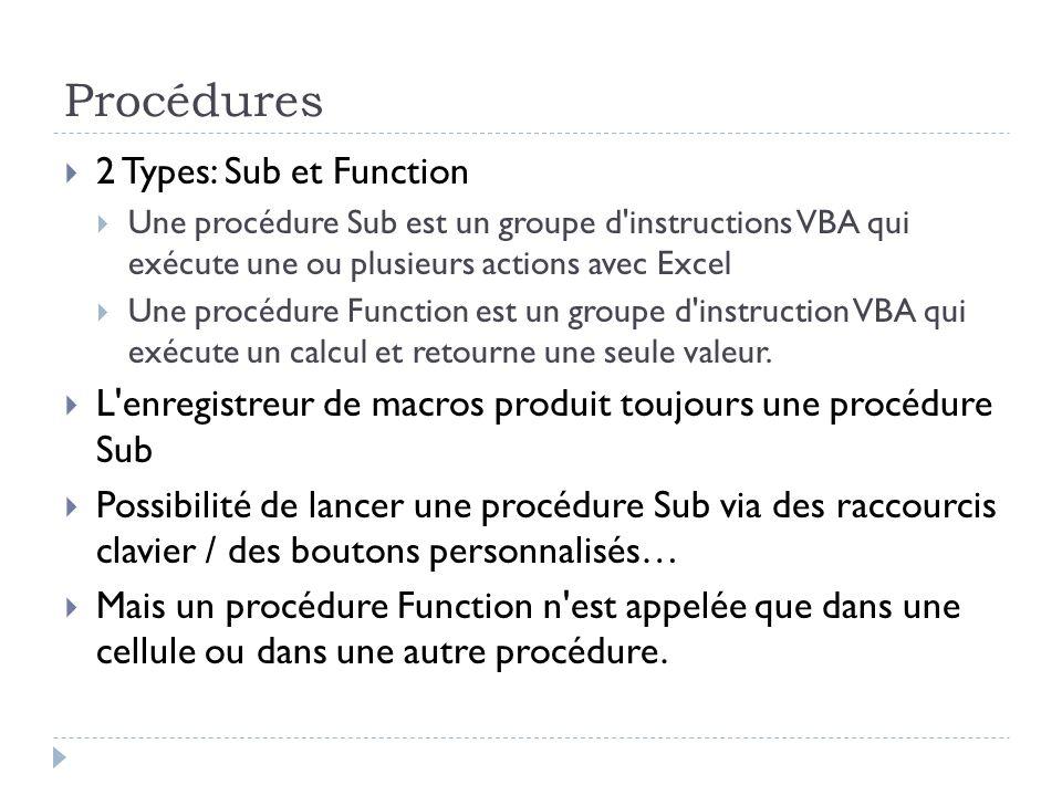 Procédures 2 Types: Sub et Function