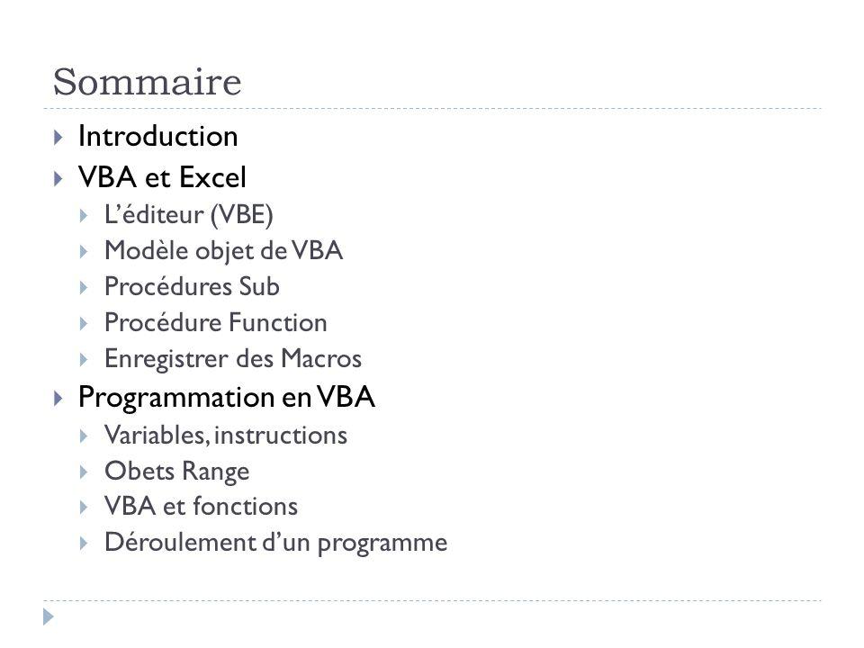 Sommaire Introduction VBA et Excel Programmation en VBA